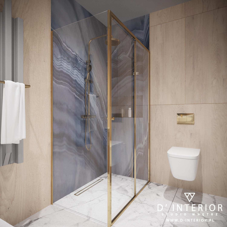 Projekt łazienki z niebieskimi płytkami