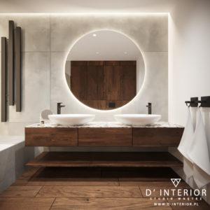 Ciepłe drewno w łazience