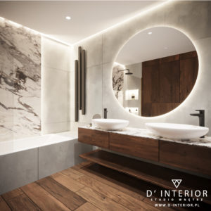 Projekt łazienki z szarymi płytkami i drewnem