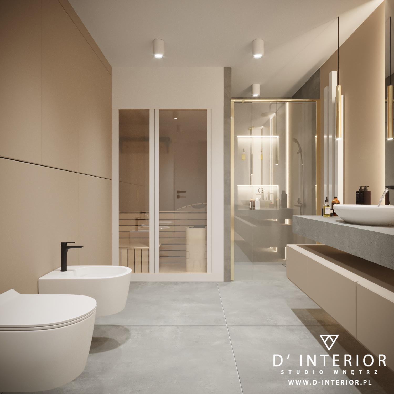 Łazienka z sauną w bezowej kolorstyce
