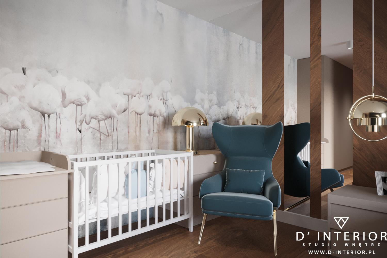 Sypialnia z niebieskim fotelem