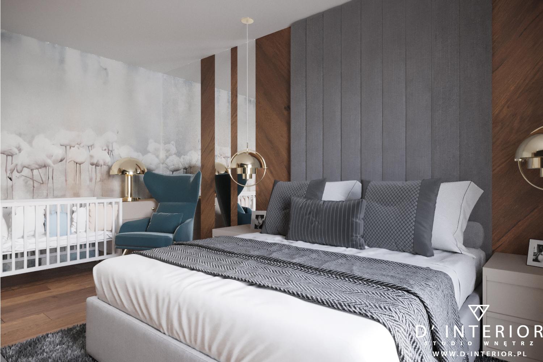 Szara sypialnia z niebieskim fotelem