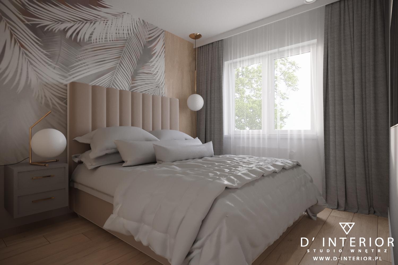 Projekt sypialni z tapetą z palmamu