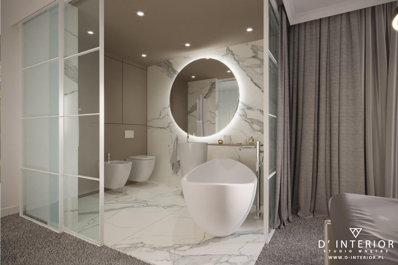 Łazienka bez ścian w luksusowym apartamencie