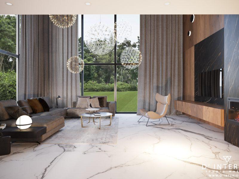 Salon z antresolą projektu D' INTERIOR