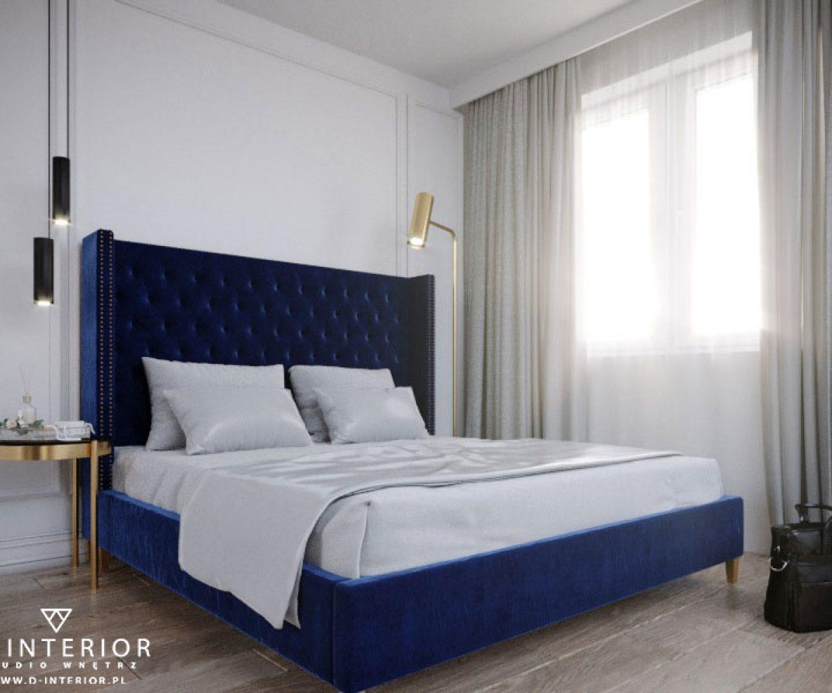 Sypialnia inspiracje z granatowym łóżkiem