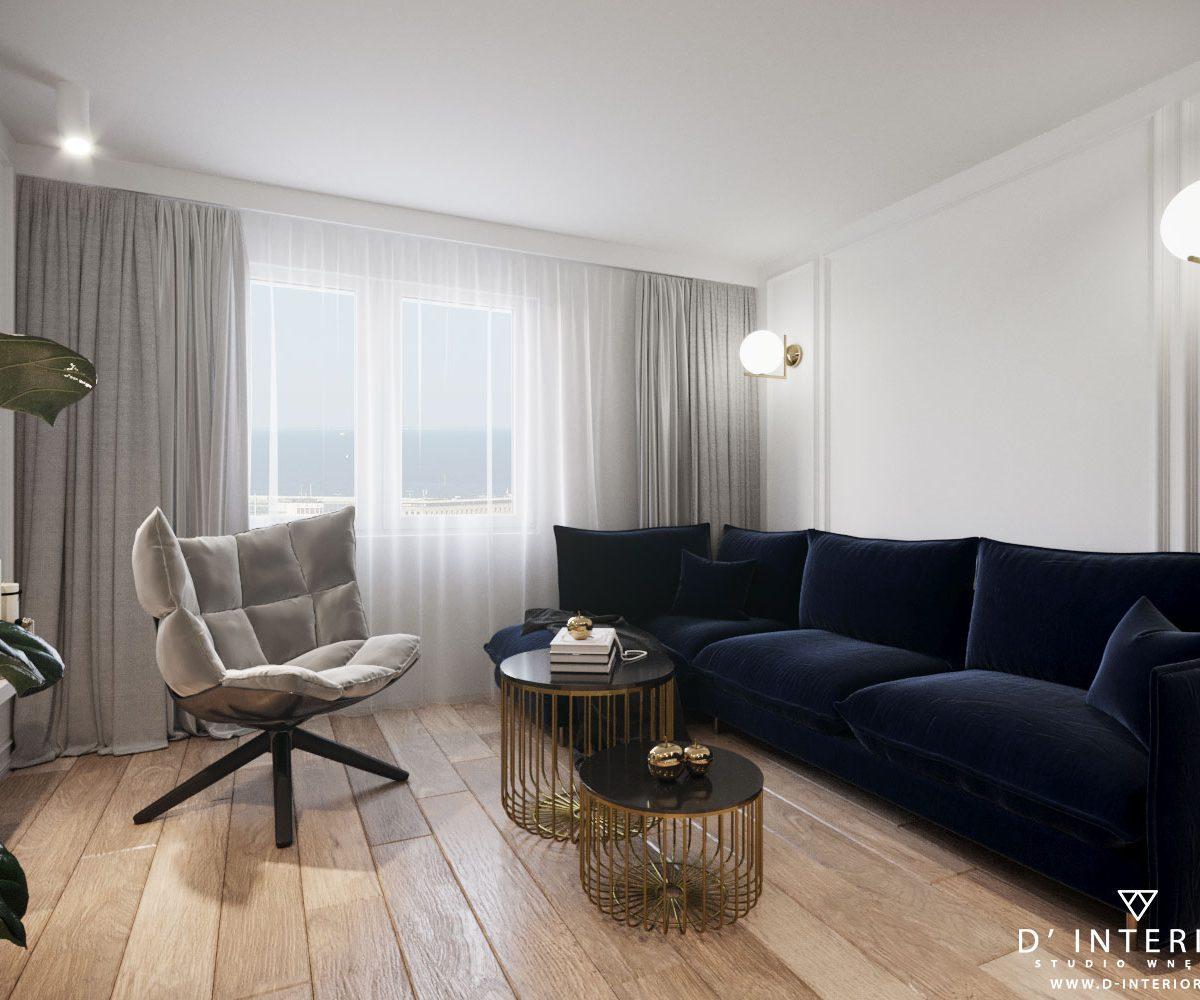 Inspiracje Salon z granatową sofą